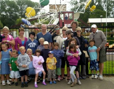A happy group of Grandparents and Grandchildren at Wicksteed Park